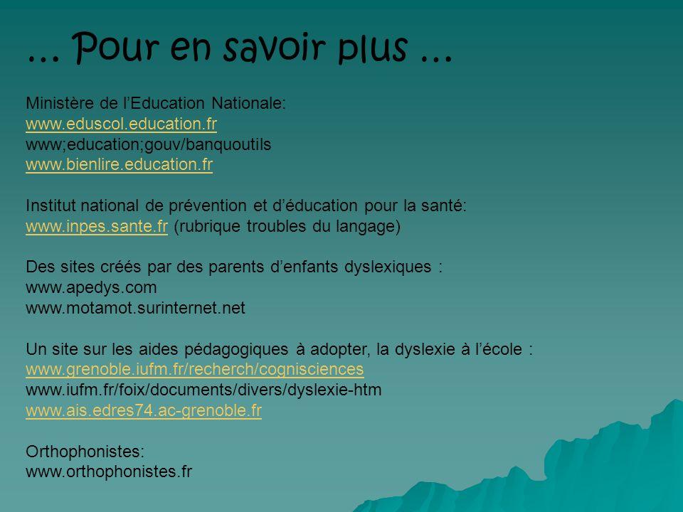 … Pour en savoir plus … Ministère de lEducation Nationale: www.eduscol.education.fr www;education;gouv/banquoutils www.bienlire.education.fr Institut