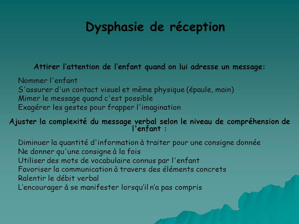 Dysphasie de réception Attirer lattention de lenfant quand on lui adresse un message: Nommer l'enfant S'assurer d'un contact visuel et même physique (