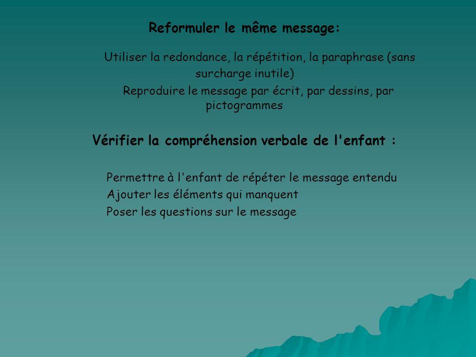 Reformuler le même message: Utiliser la redondance, la répétition, la paraphrase (sans surcharge inutile) Reproduire le message par écrit, par dessins