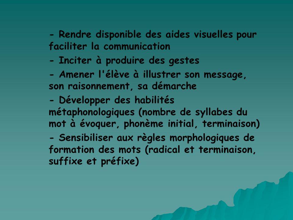 - Rendre disponible des aides visuelles pour faciliter la communication - Inciter à produire des gestes - Amener l'élève à illustrer son message, son