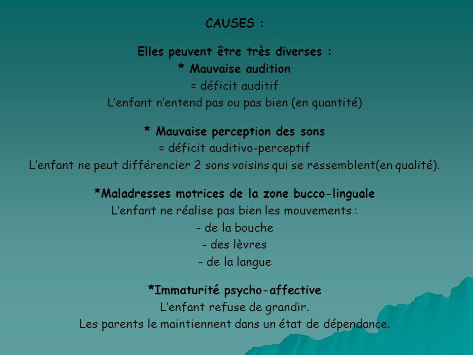 CAUSES : Elles peuvent être très diverses : * Mauvaise audition = déficit auditif Lenfant nentend pas ou pas bien (en quantité) * Mauvaise perception
