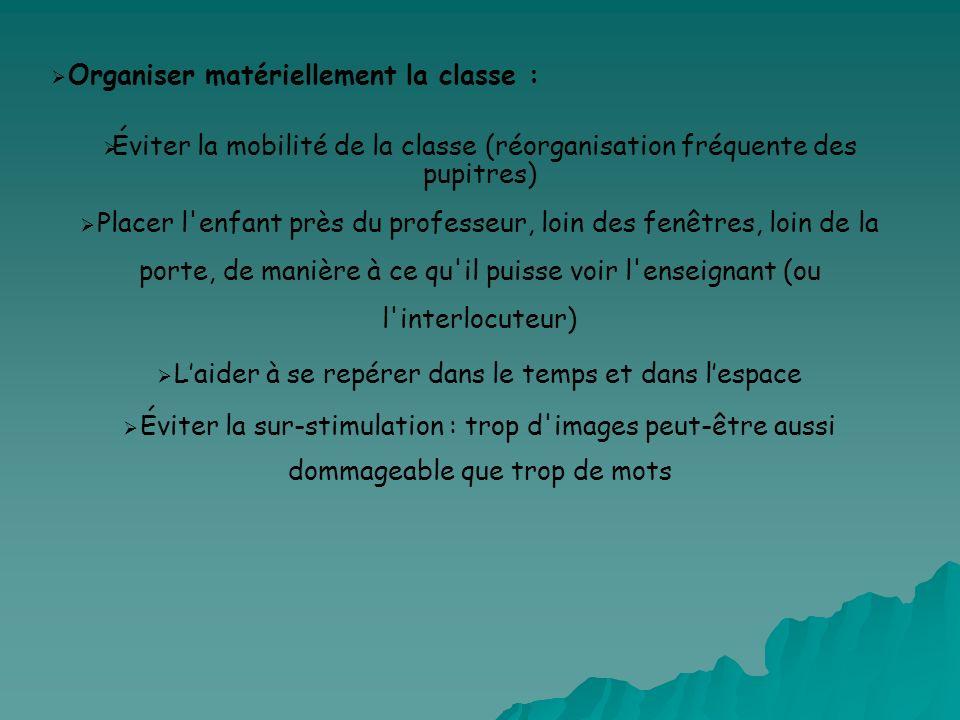 Organiser matériellement la classe : Éviter la mobilité de la classe (réorganisation fréquente des pupitres) Placer l'enfant près du professeur, loin