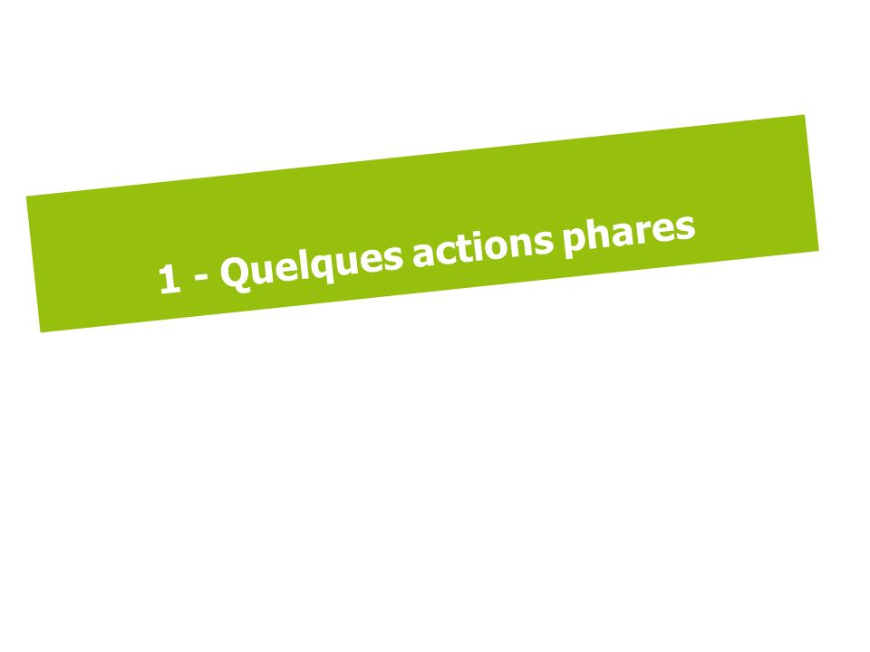1 - Quelques actions phares