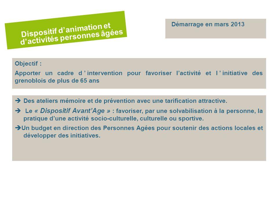 Objectif : Apporter un cadre dintervention pour favoriser lactivité et linitiative des grenoblois de plus de 65 ans Des ateliers mémoire et de prévention avec une tarification attractive.