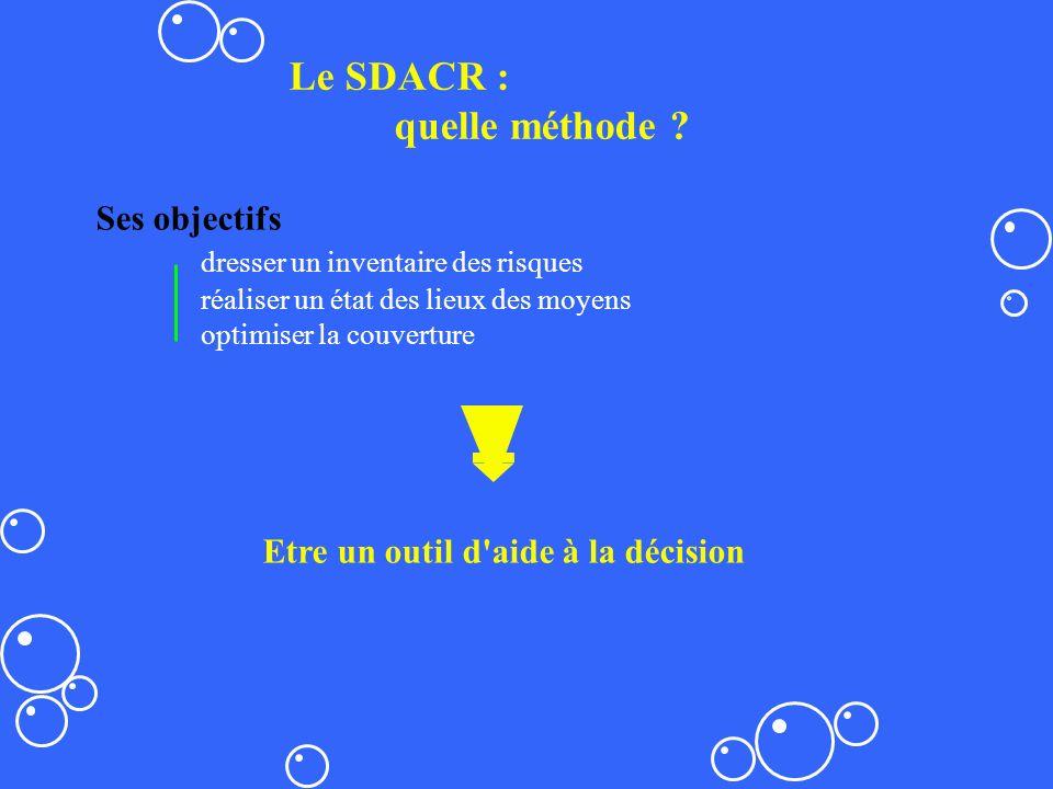 Le SDACR : quelle méthode ? Ses objectifs dresser un inventaire des risques réaliser un état des lieux des moyens optimiser la couverture Etre un outi