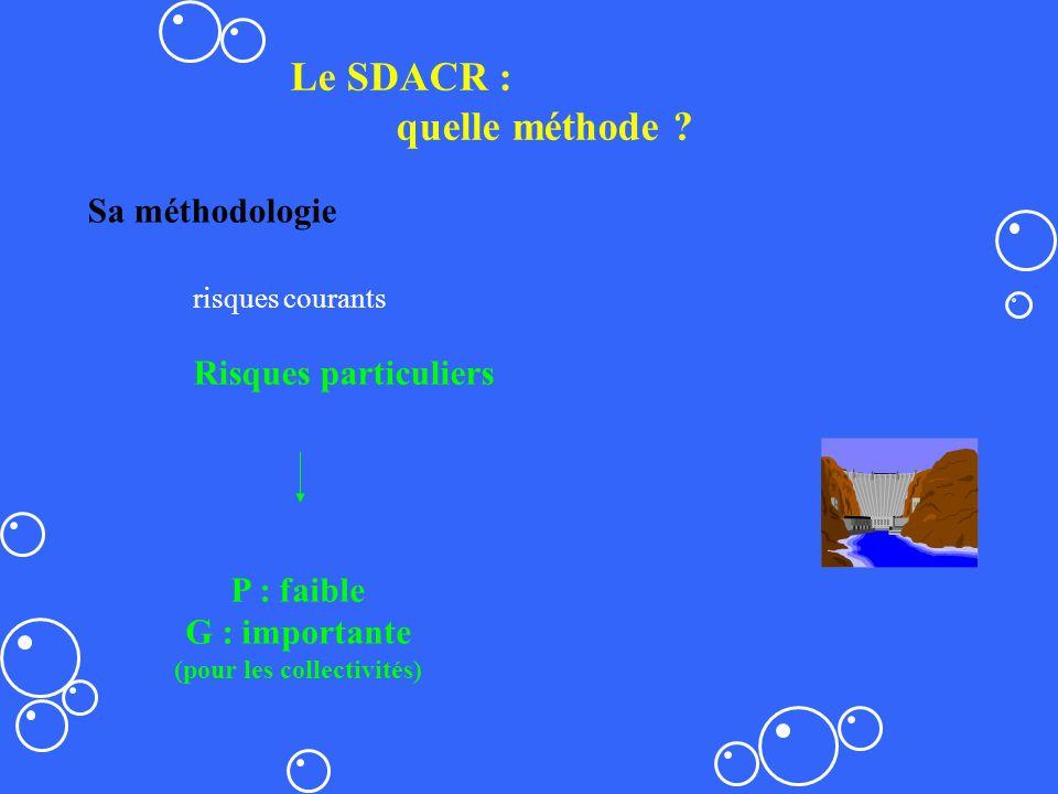 Le SDACR : quelle méthode ? Sa méthodologie risques courants Risques particuliers P : faible G : importante (pour les collectivités)