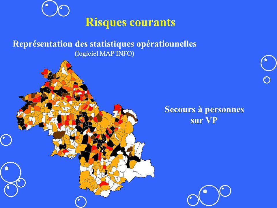 Secours à personnes sur VP Risques courants Représentation des statistiques opérationnelles (logiciel MAP INFO)