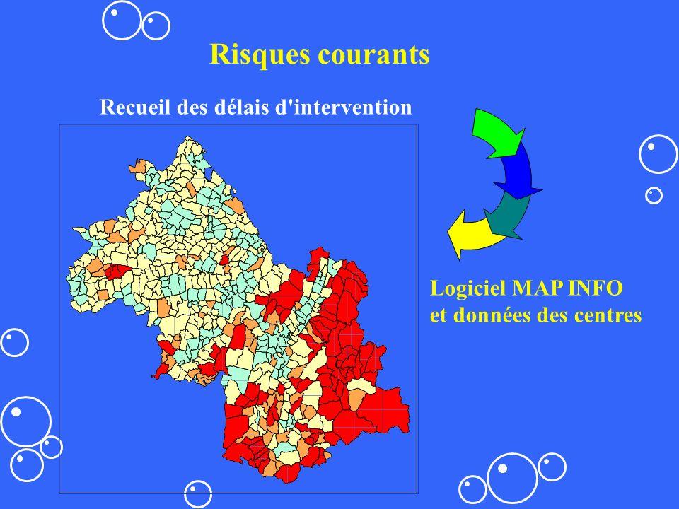 Recueil des délais d'intervention Logiciel MAP INFO et données des centres Risques courants