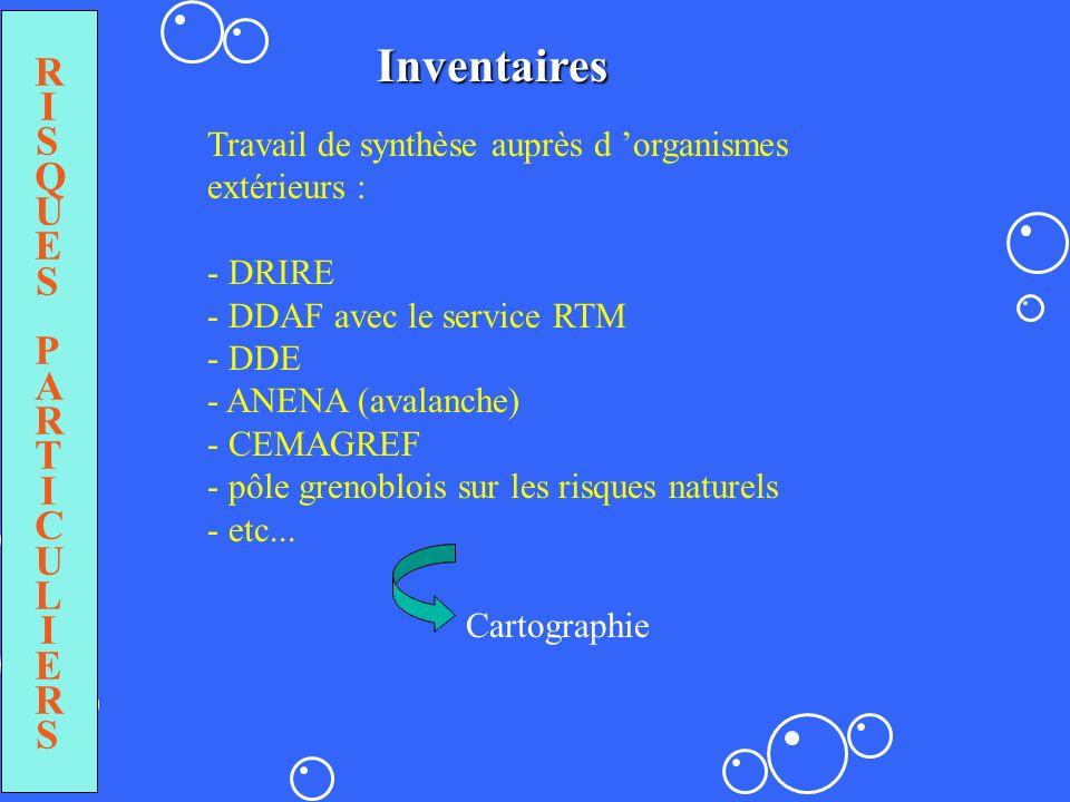 RISQUESPARTICULIERSRISQUESPARTICULIERS Inventaires Travail de synthèse auprès d organismes extérieurs : - DRIRE - DDAF avec le service RTM - DDE - ANE
