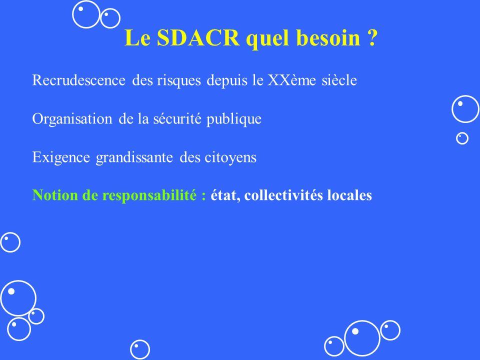 Le SDACR quel besoin ? Recrudescence des risques depuis le XXème siècle Organisation de la sécurité publique Exigence grandissante des citoyens Notion