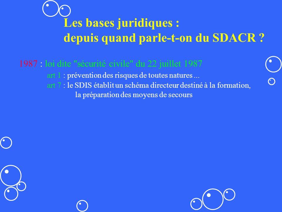 Les bases juridiques : depuis quand parle-t-on du SDACR ? 1987 : loi dite