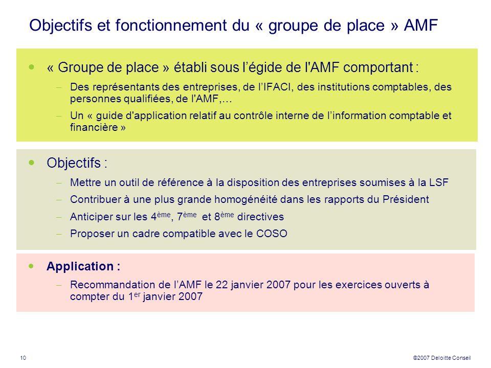 10 ©2007 Deloitte Conseil Objectifs et fonctionnement du « groupe de place » AMF « Groupe de place » établi sous légide de l'AMF comportant : – Des re