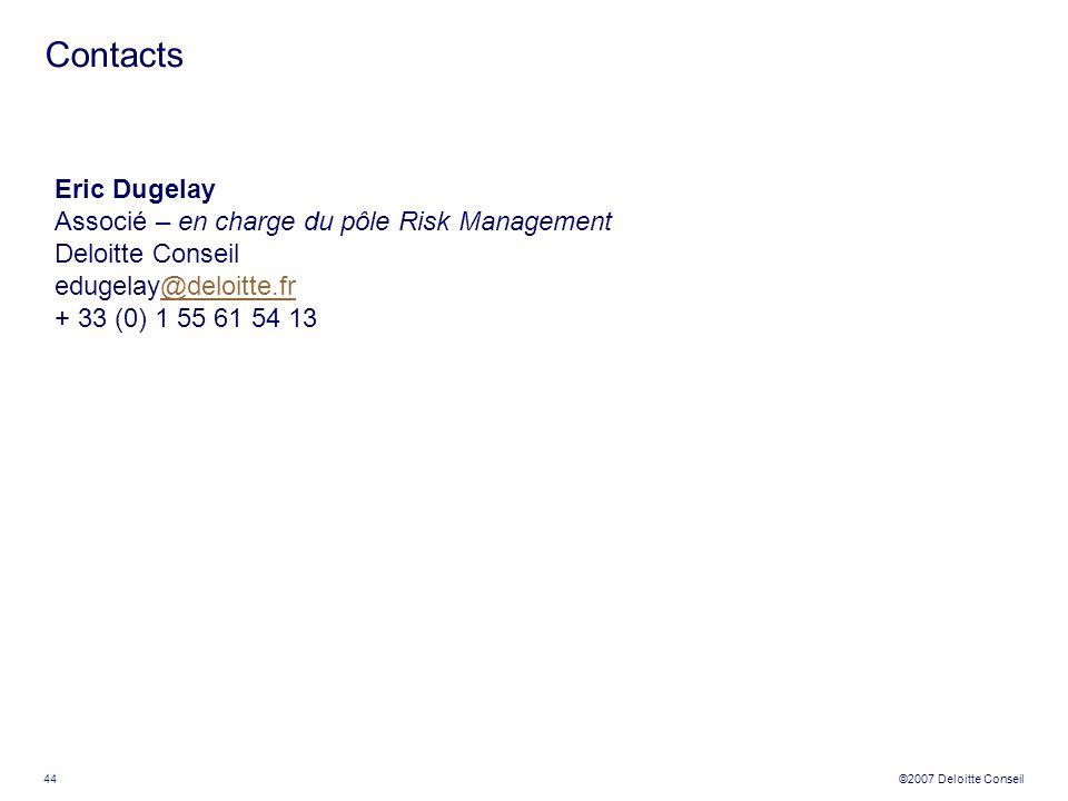 44 ©2007 Deloitte Conseil Eric Dugelay Associé – en charge du pôle Risk Management Deloitte Conseil edugelay@deloitte.fr@deloitte.fr + 33 (0) 1 55 61