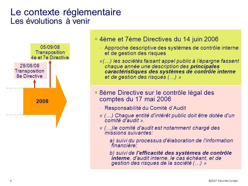 9 ©2007 Deloitte Conseil Le contexte réglementaire Les évolutions à venir 4ème et 7ème Directives du 14 juin 2006 – Approche descriptive des systèmes