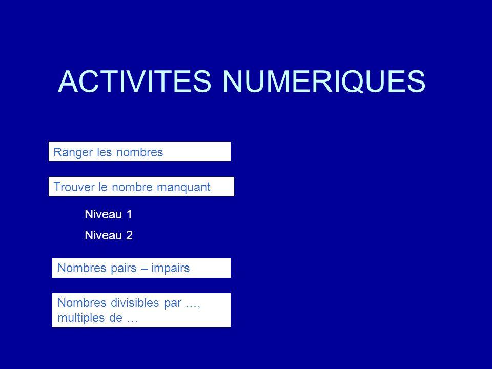 Trouve le nombre manquant Tu dois retenir la suite des nombres et cliquer le nombre qui convient ?