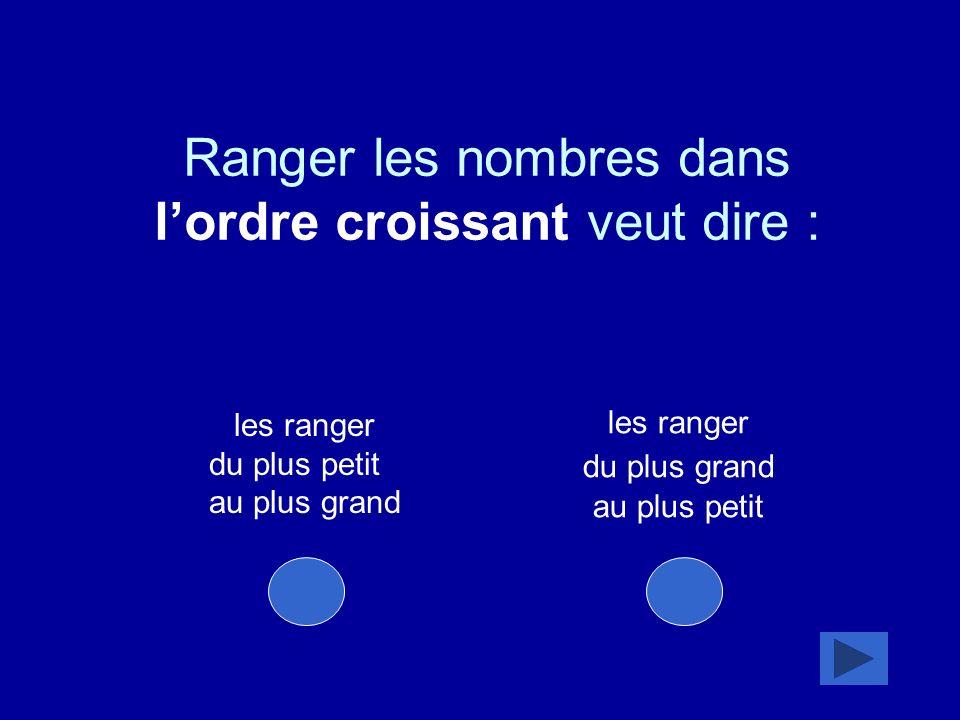 les ranger du plus petit au plus grand les ranger du plus grand au plus petit Ranger les nombres dans lordre croissant veut dire :