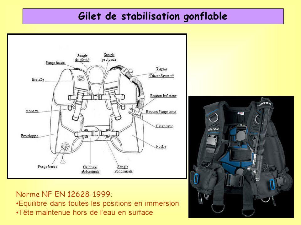 Gilet de stabilisation gonflable Norme NF EN 12628-1999 : Equilibre dans toutes les positions en immersion Tête maintenue hors de leau en surface