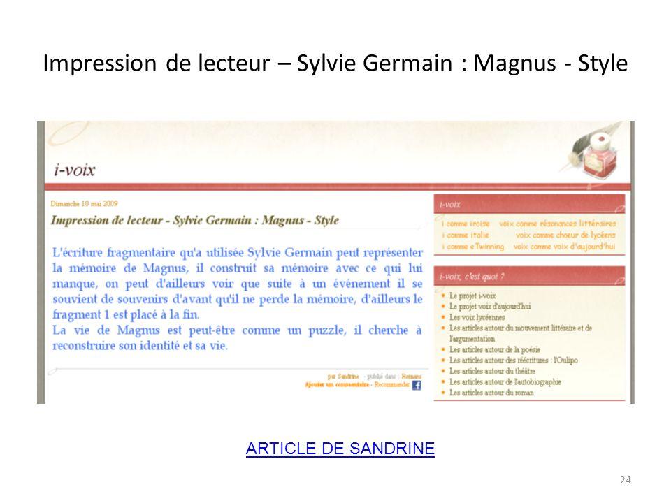 Impression de lecteur – Sylvie Germain : Magnus - Style ARTICLE DE SANDRINE 24