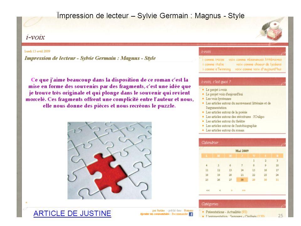 ARTICLE DE JUSTINE Ïmpression de lecteur – Sylvie Germain : Magnus - Style 25
