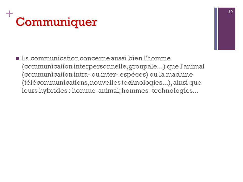 + Communiquer 1. Que signifie Communiquer Retour aux sources La communication est aujourdhui un phénomène de mode Pourtant, létude de la communication