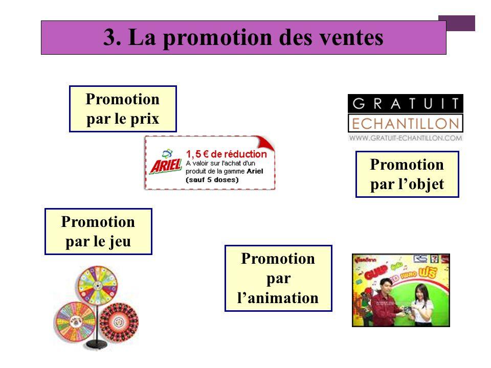 + La promotion des ventes Définition : la promotion des ventes a pour objectif de stimuler l efficacité de la force de vente et des revendeurs et de s