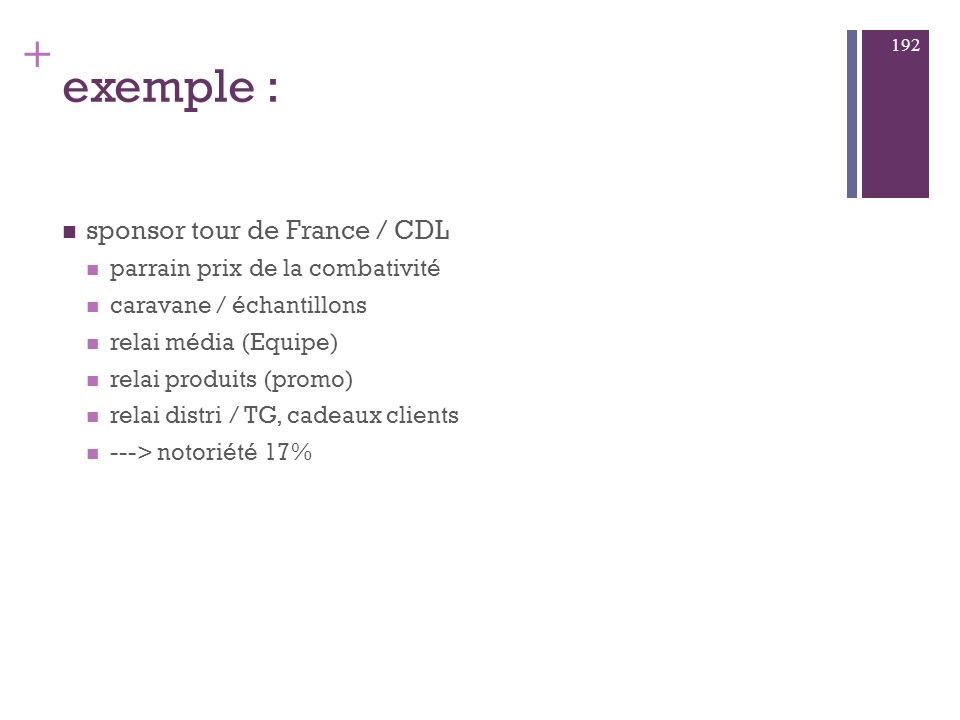 + exemple : cibles internes membres de l E cibles externes segment de clientèle administration presse 191