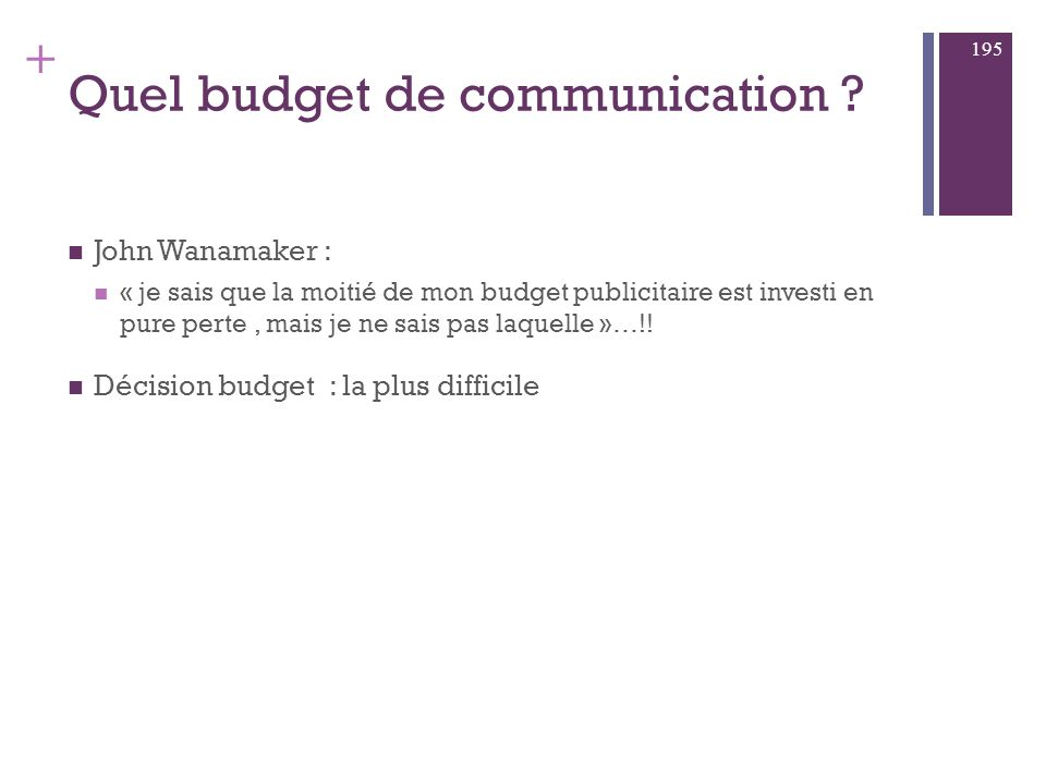 + Conclusion : vers la communication globale Prévision budgétaire Analyse de répartition du budget Efficacité du Mix promotionnel global 194