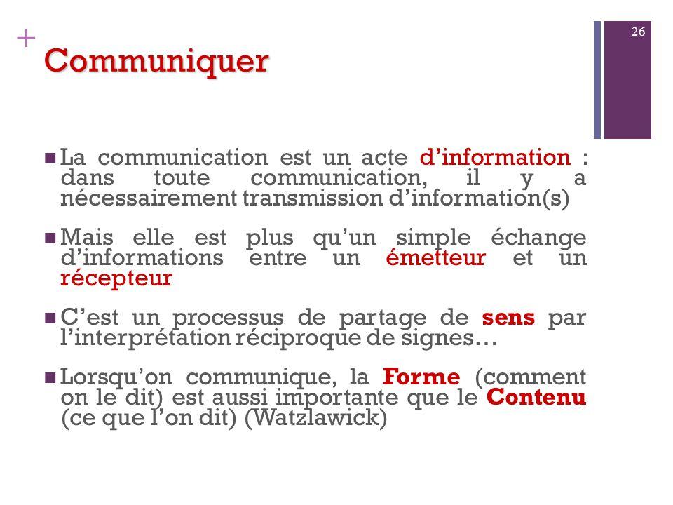 + Communiquer Un code peut être composé de signes tels que : Des sons = code linguistique Des signes écrits = code graphique Des signes gestuels Des i