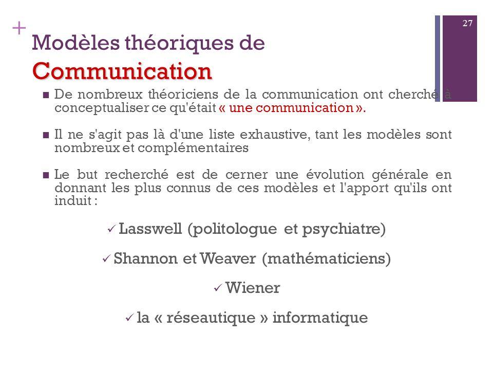 + Communiquer La communication est un acte dinformation : dans toute communication, il y a nécessairement transmission dinformation(s) Mais elle est p