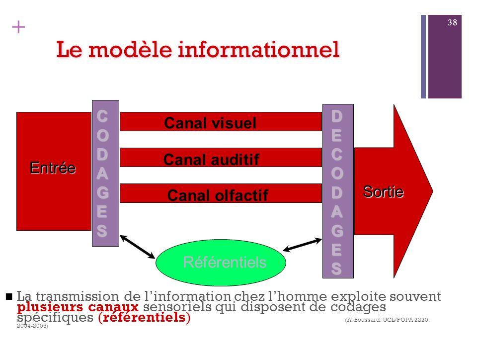 + Le modèle informationnel Tout canal de transmission est affecté par divers bruits (noises) qui dépendent de lenvironnement considéré au sens large d