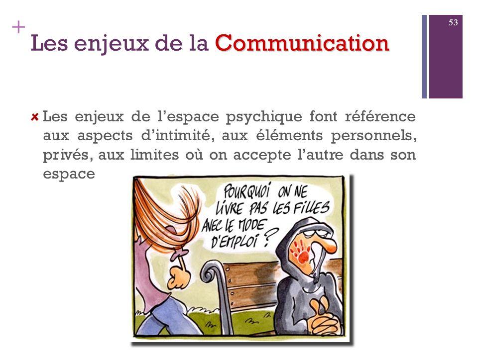 + Communication Les enjeux de la Communication Les enjeux territoriaux : Lenjeu est de préserver un espace intime pour ne pas se mettre en danger dans