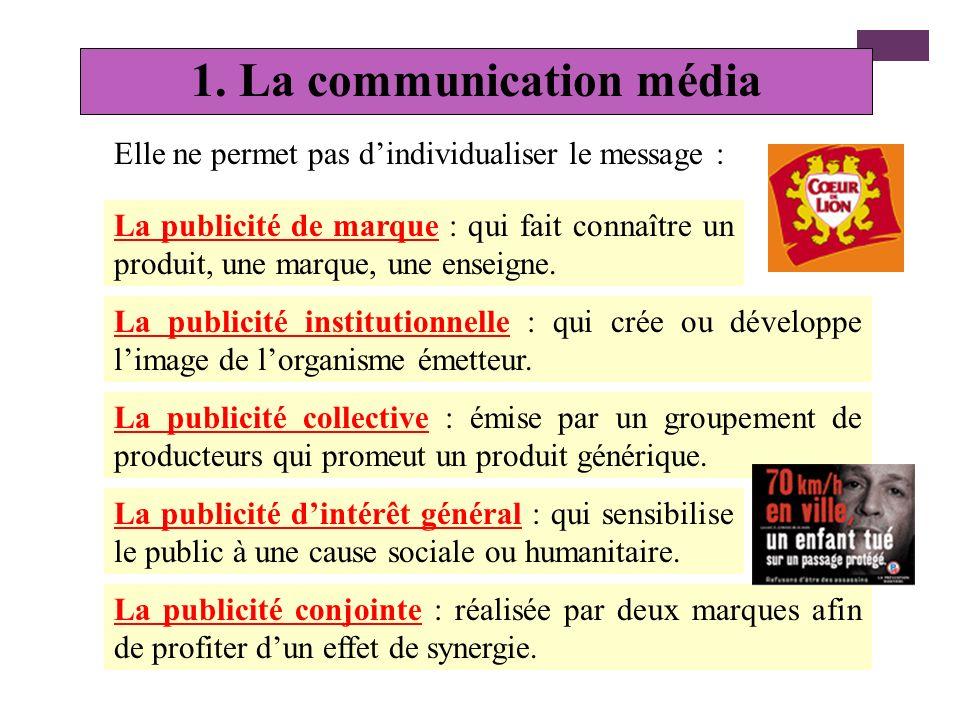 Les moyens utilisés pour la communication commerciale 1. La communication média 2. La communication hors média 3. La promotion des ventes
