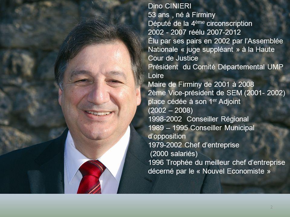 2 Dino CINIERI 53 ans, né à Firminy Député de la 4 ème circonscription 2002 - 2007 réélu 2007-2012 Élu par ses pairs en 2002 par lAssemblée Nationale