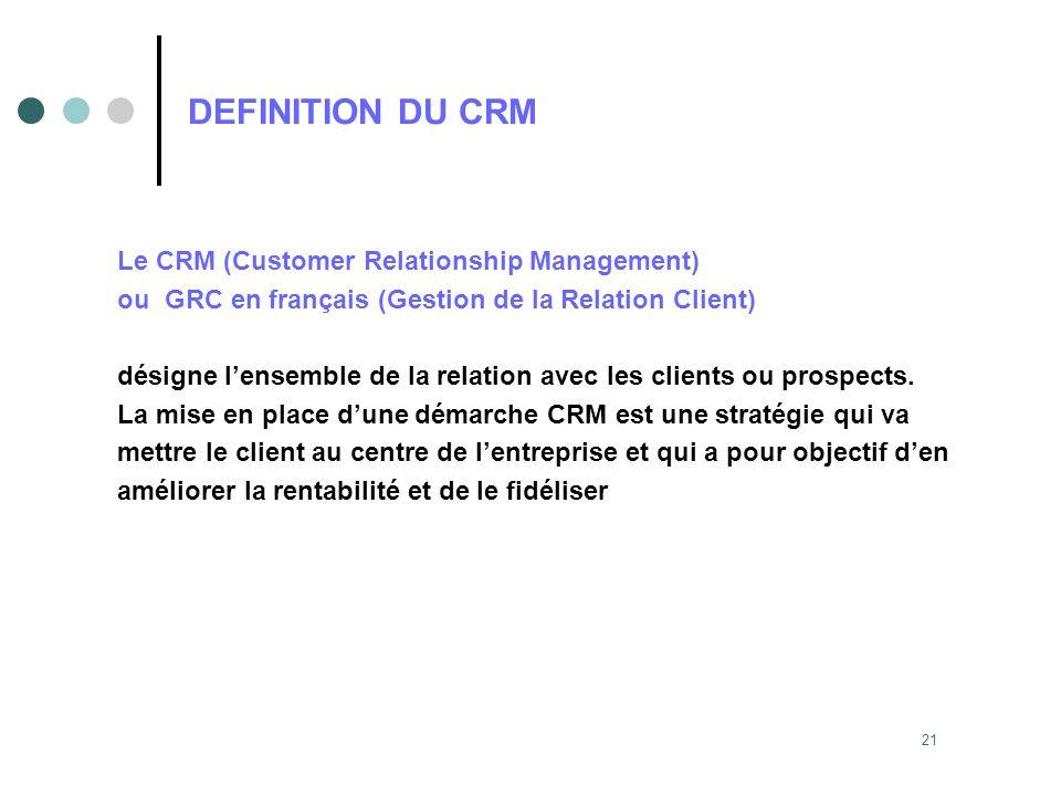 21 DEFINITION DU CRM Le CRM (Customer Relationship Management) ou GRC en français (Gestion de la Relation Client) désigne lensemble de la relation ave