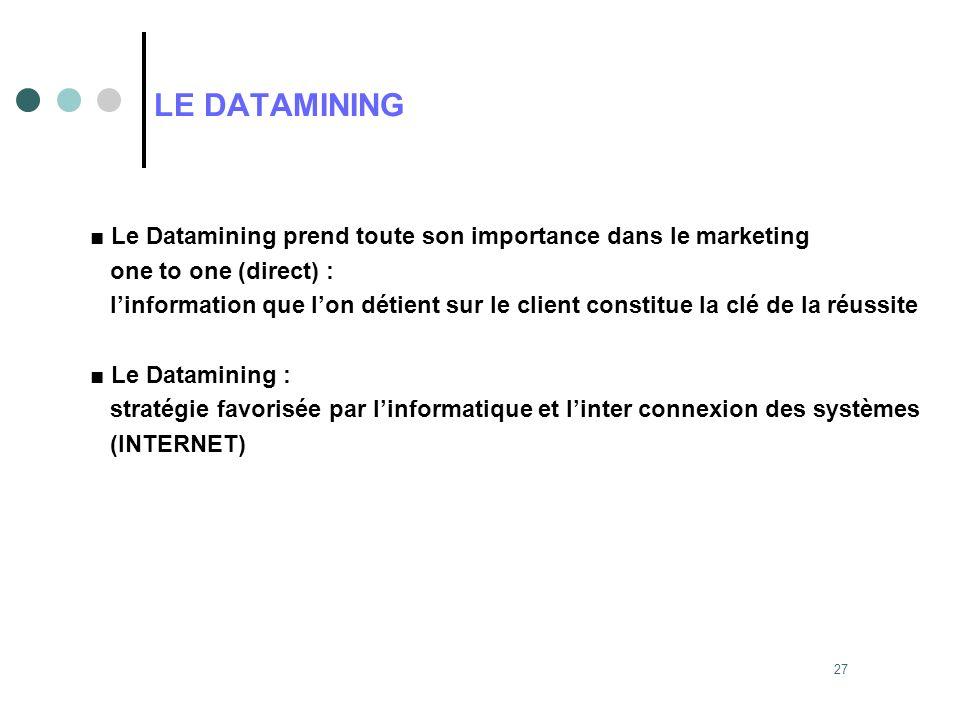 27 LE DATAMINING Le Datamining prend toute son importance dans le marketing one to one (direct) : linformation que lon détient sur le client constitue
