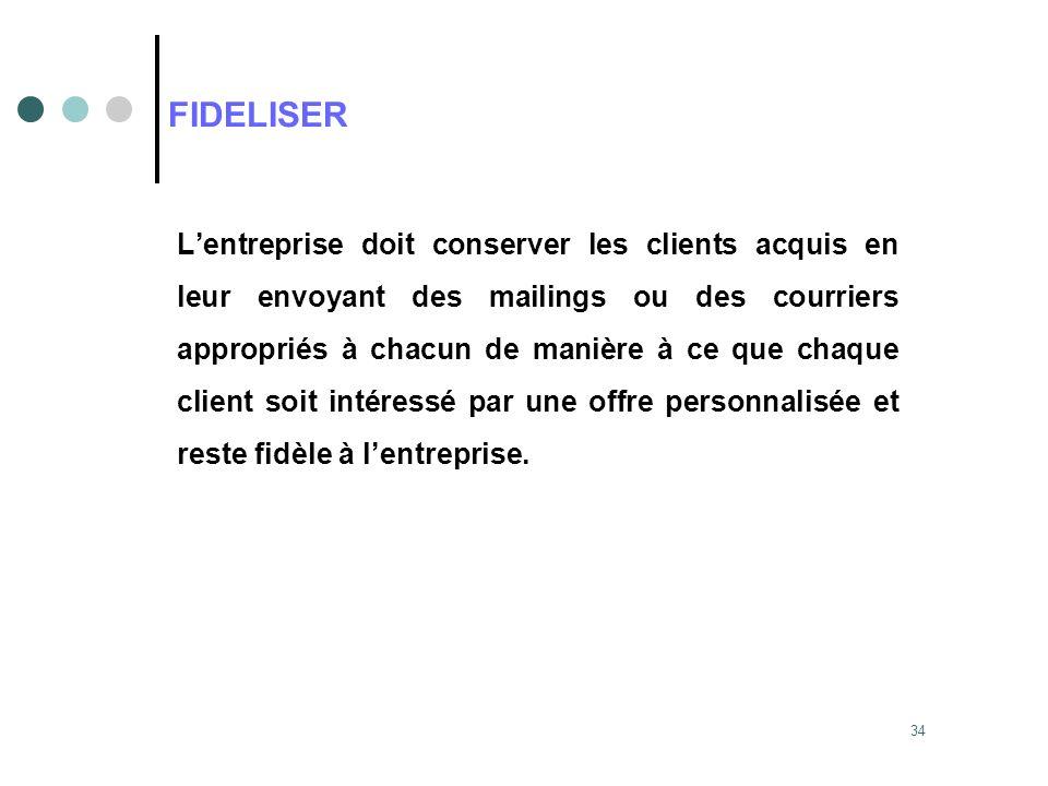 34 FIDELISER Lentreprise doit conserver les clients acquis en leur envoyant des mailings ou des courriers appropriés à chacun de manière à ce que chaq