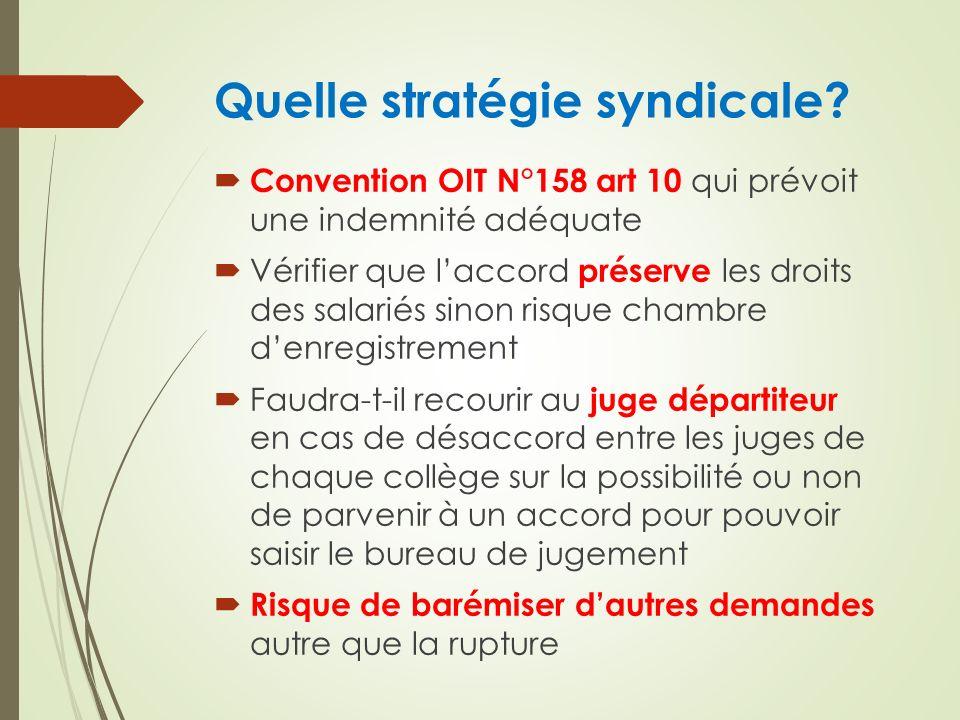 Quelle stratégie syndicale? Convention OIT N°158 art 10 qui prévoit une indemnité adéquate Vérifier que laccord préserve les droits des salariés sinon