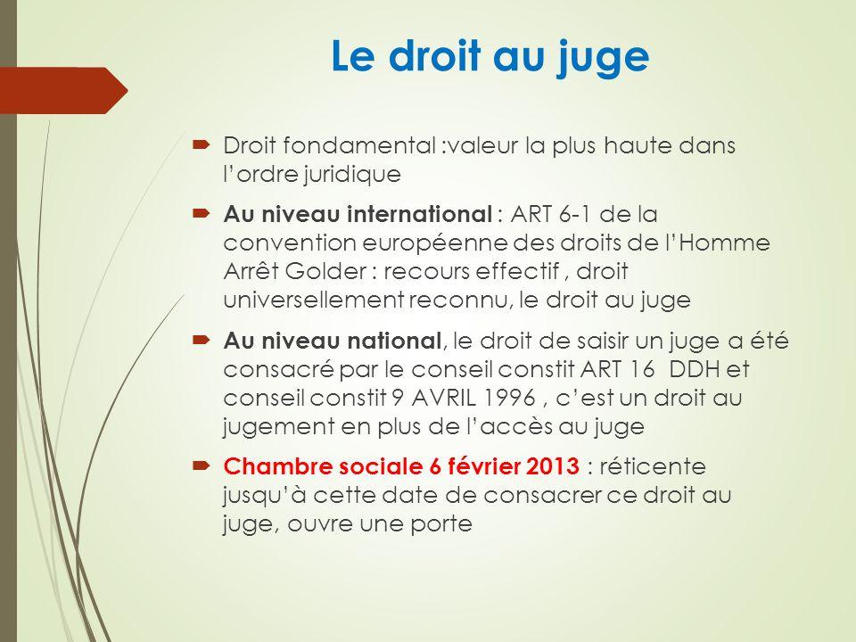 Le droit au juge Droit fondamental :valeur la plus haute dans lordre juridique Au niveau international : ART 6-1 de la convention européenne des droits de lHomme Arrêt Golder : recours effectif, droit universellement reconnu, le droit au juge Au niveau national, le droit de saisir un juge a été consacré par le conseil constit ART 16 DDH et conseil constit 9 AVRIL 1996, cest un droit au jugement en plus de laccès au juge Chambre sociale 6 février 2013 : réticente jusquà cette date de consacrer ce droit au juge, ouvre une porte