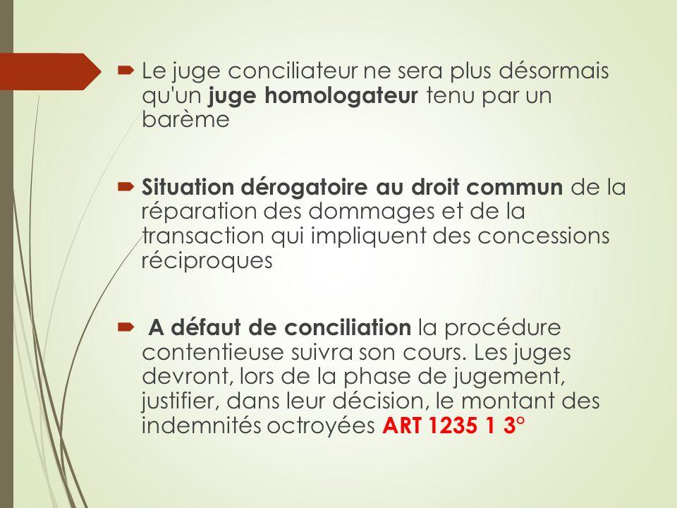 Le juge conciliateur ne sera plus désormais qu'un juge homologateur tenu par un barème Situation dérogatoire au droit commun de la réparation des domm