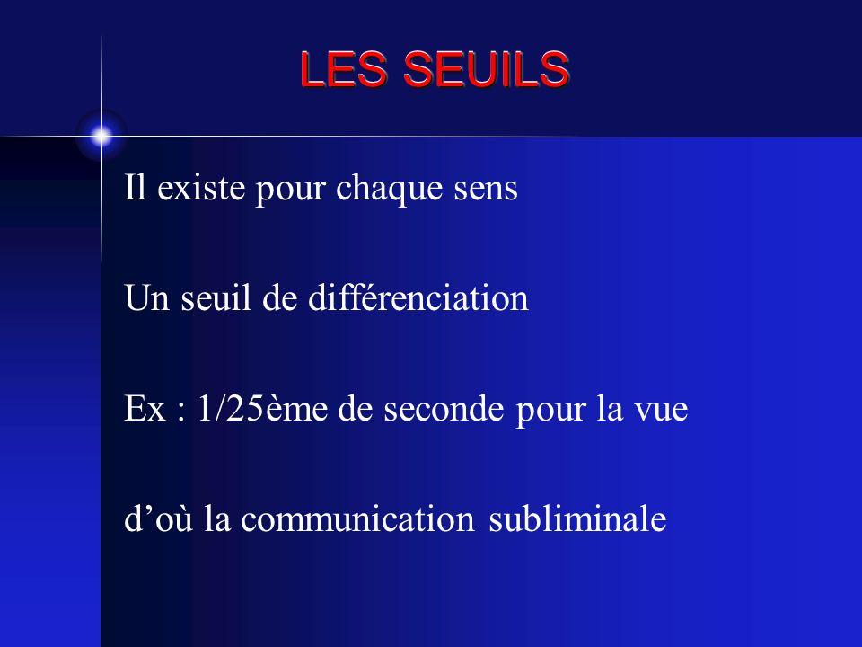 LES SEUILS Il existe pour chaque sens Un seuil de différenciation Ex : 1/25ème de seconde pour la vue doù la communication subliminale