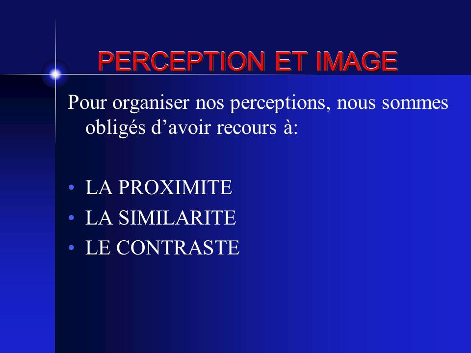 PERCEPTION ET IMAGE Pour organiser nos perceptions, nous sommes obligés davoir recours à: LA PROXIMITE LA SIMILARITE LE CONTRASTE