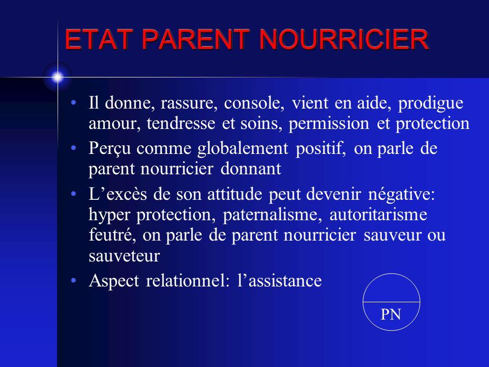 ETAT PARENT NOURRICIER Il donne, rassure, console, vient en aide, prodigue amour, tendresse et soins, permission et protection Perçu comme globalement