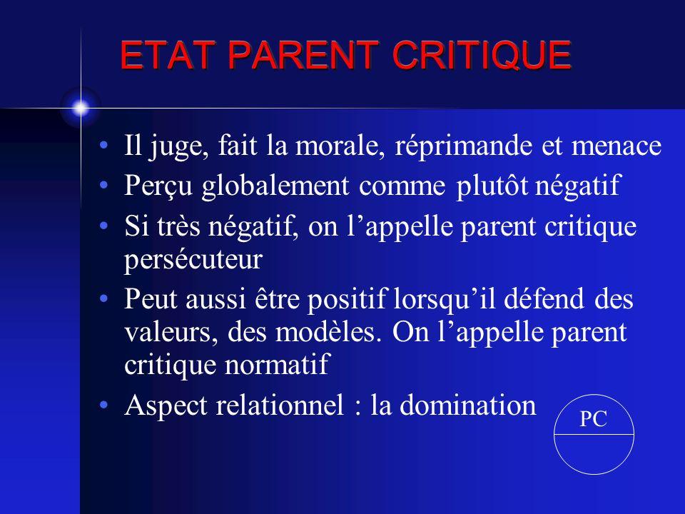 ETAT PARENT CRITIQUE Il juge, fait la morale, réprimande et menace Perçu globalement comme plutôt négatif Si très négatif, on lappelle parent critique