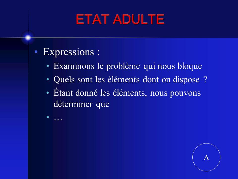 ETAT ADULTE Expressions : Examinons le problème qui nous bloque Quels sont les éléments dont on dispose ? Étant donné les éléments, nous pouvons déter
