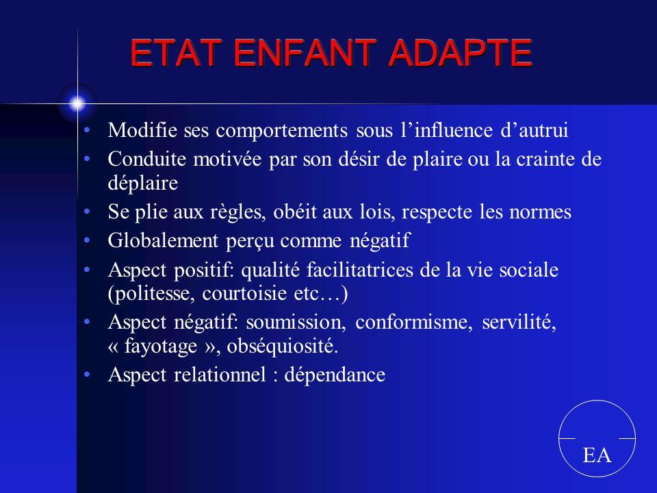 ETAT ENFANT ADAPTE Modifie ses comportements sous linfluence dautrui Conduite motivée par son désir de plaire ou la crainte de déplaire Se plie aux rè