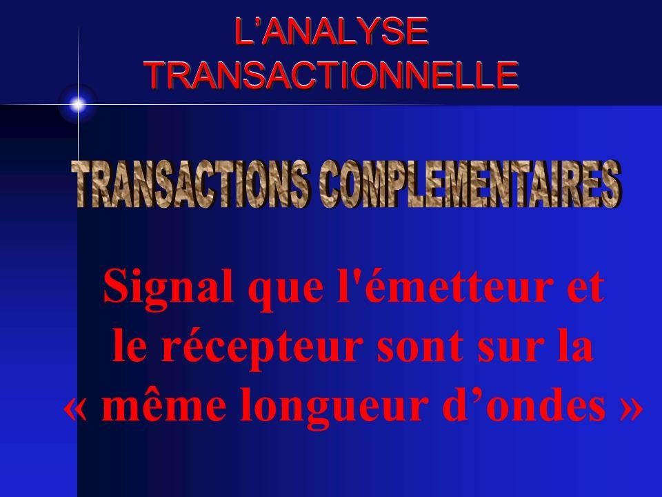 LANALYSE TRANSACTIONNELLE Signal que l'émetteur et le récepteur sont sur la « même longueur dondes »