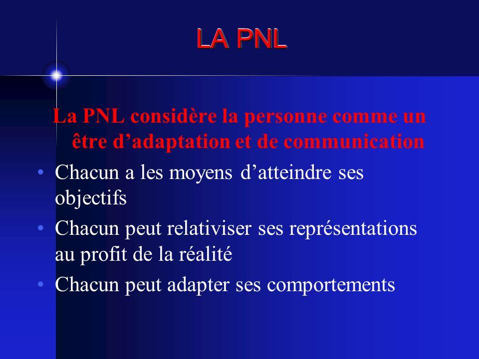 LA PNL La PNL considère la personne comme un être dadaptation et de communication Chacun a les moyens datteindre ses objectifs Chacun peut relativiser