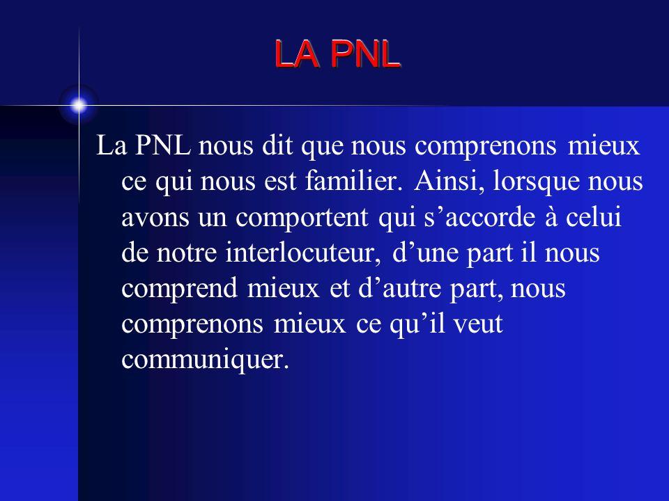 LA PNL La PNL nous dit que nous comprenons mieux ce qui nous est familier. Ainsi, lorsque nous avons un comportent qui saccorde à celui de notre inter