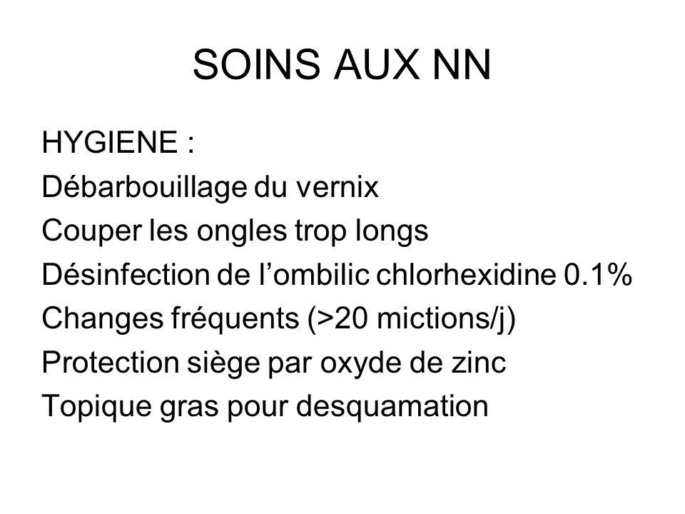 SOINS AUX NN HYGIENE : Débarbouillage du vernix Couper les ongles trop longs Désinfection de lombilic chlorhexidine 0.1% Changes fréquents (>20 mictio