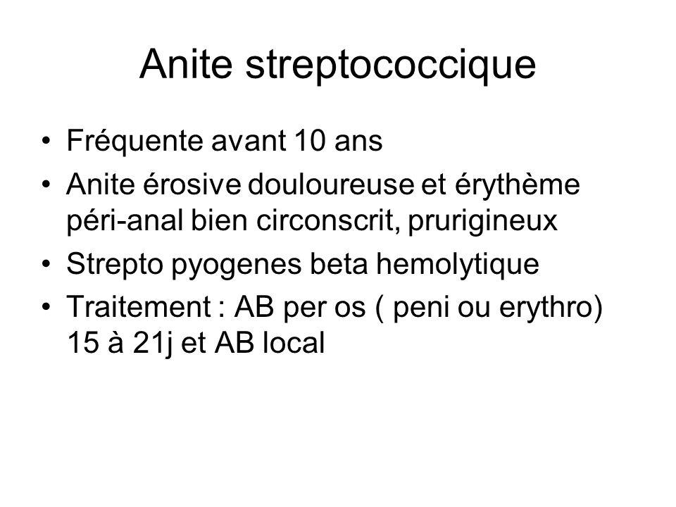 Anite streptococcique Fréquente avant 10 ans Anite érosive douloureuse et érythème péri-anal bien circonscrit, prurigineux Strepto pyogenes beta hemol